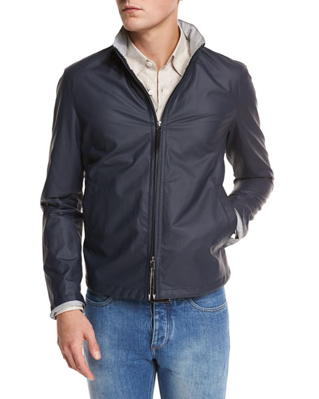 Ermenegildo Zegna Waxed Cotton-Blend Bomber Jacket, Navy