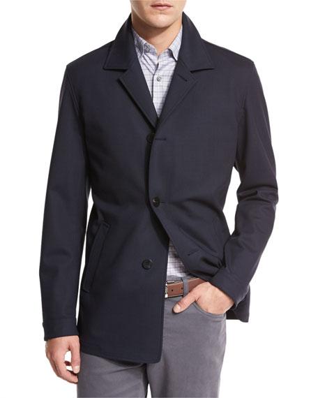 Wool Jersey Car Coat, Navy