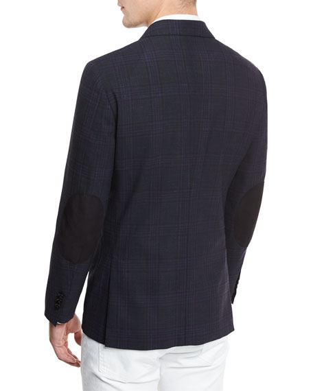 Soft Check Two-Button Sport Coat, Navy Check