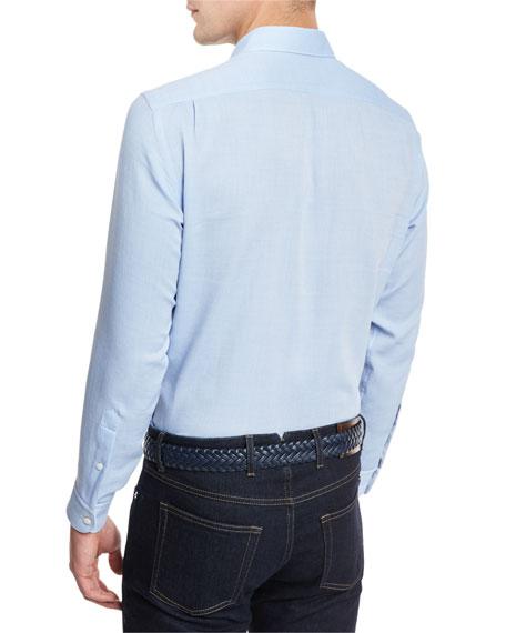 Flannel Long-Sleeve Sport Shirt, Blue