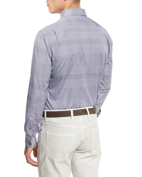 Fine Plaid Woven Sport Shirt, Navy