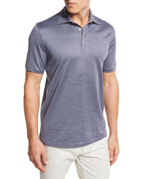 Micro-Birdseye Polo Shirt, Navy