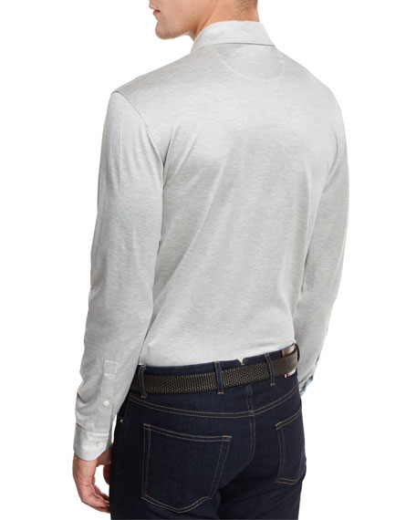 Long-Sleeve Button-Down Polo Shirt, Gray