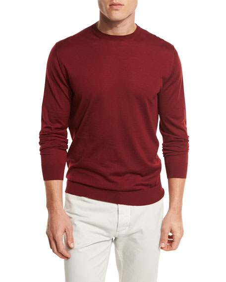 High-Performance Merino Wool Crewneck Sweater, Medium Red