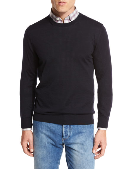 High-Performance Merino Wool Crewneck Sweater, Navy