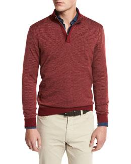High-Performance Merino Wool Quarter-Zip Pullover, Medium Red Fan