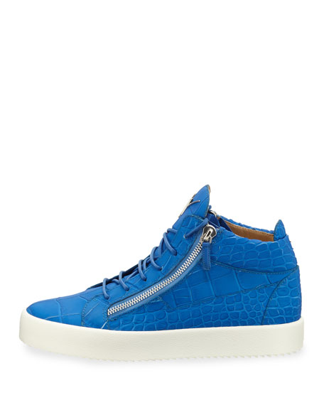 Men's Crocodile-Embossed Leather Mid-Top Sneakers, Blue