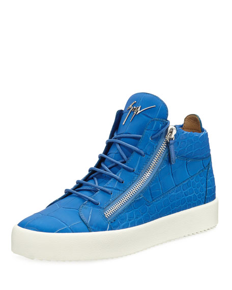 Men's Crocodile-Embossed Leather Mid-Top Sneaker, Blue