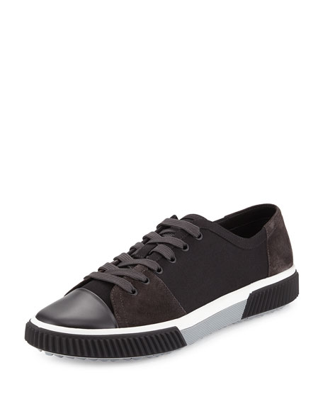 Canvas & Suede Low-Top Sneaker, Black