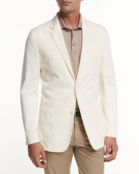 Ermenegildo Zegna Soft Stretch-Cotton Sport Jacket, Light Beige