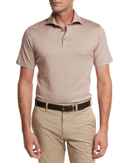 f02a0f84 Ermenegildo Zegna Jacquard Polo Shirt, Light Brown