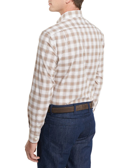 Check Plaid Sport Shirt, Brown