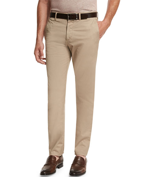 Slim-Fit Flat-Front Trousers