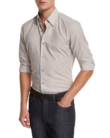 Melange Striped Sport Shirt, Tan