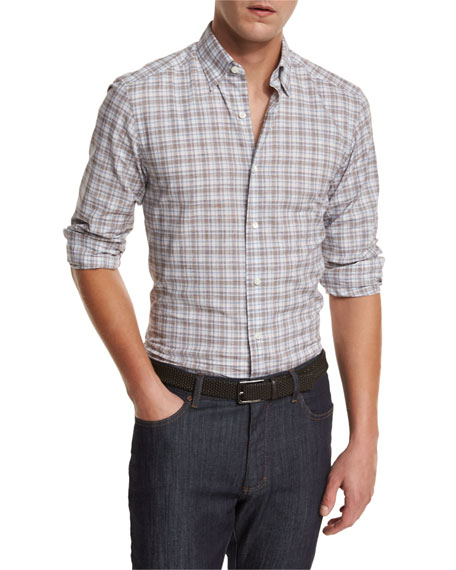 Plaid Woven Sport Shirt, Brown
