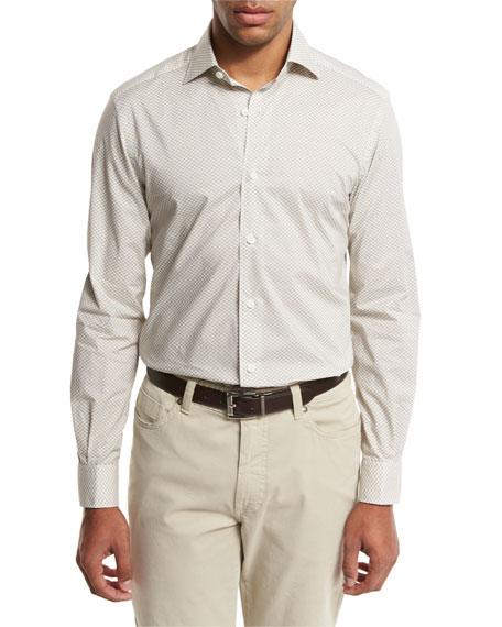 Geo-Print Sport Shirt, Medium Beige