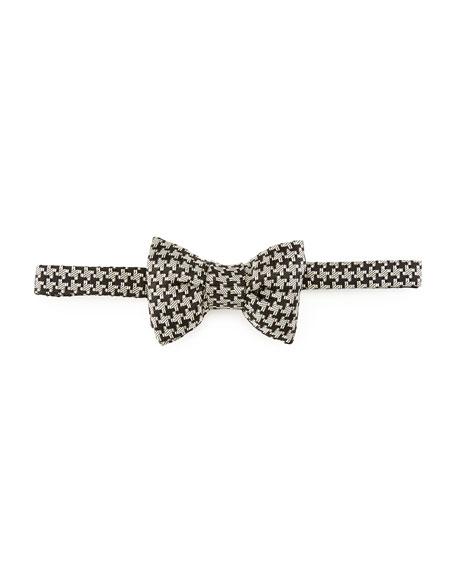 Houndstooth Silk Bow Tie, Black