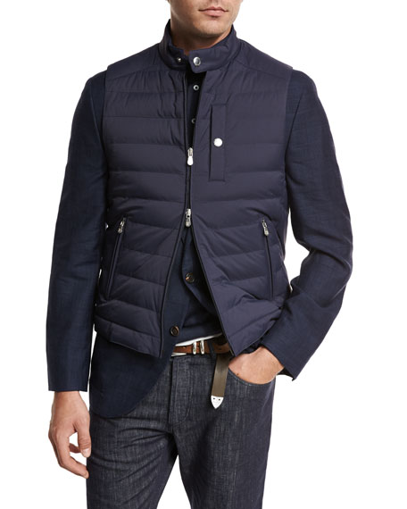 Quilted Nylon Down Gilet, Navy
