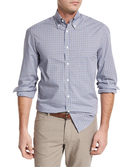 Check Pocket Sport Shirt, Blue/Brown