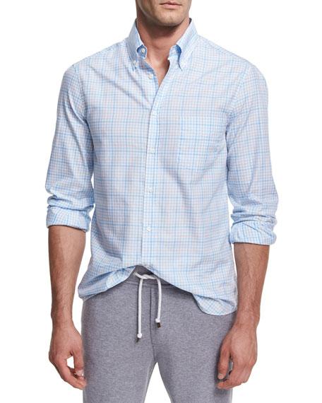 Brunello Cucinelli Plaid Cotton Button-Front Shirt, Light Blue