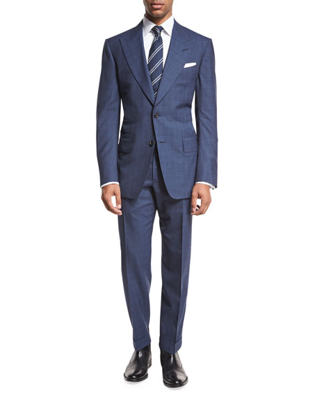Windsor Base Double-Windowpane Two-Piece Suit, Bright Blue