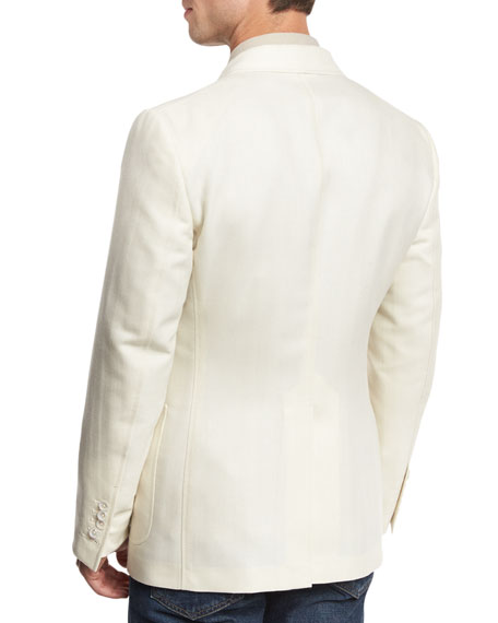 O'Connor Base Herringbone Two-Button Sport Coat, White