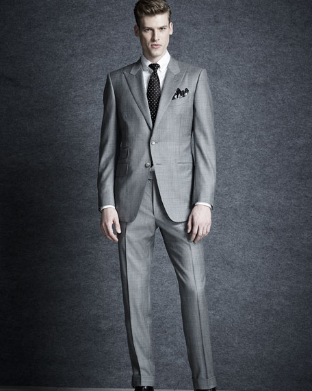 O'Connor Base Sharkskin Two-Piece Suit, Light Gray