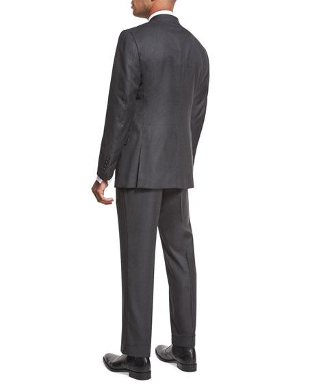 Windsor Base Birdseye Two-Piece Suit, Charcoal