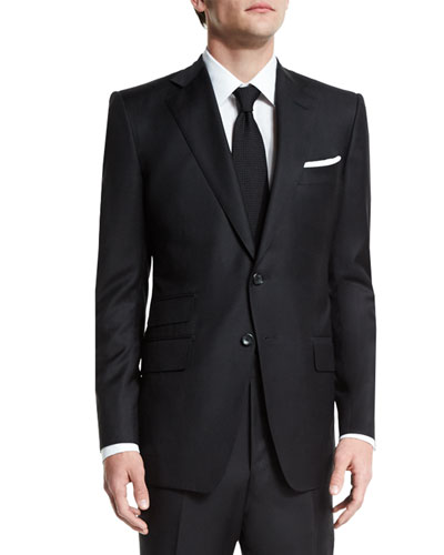 O'Connor Base Solid Two-Piece 130s Wool Master Twill Suit, Black