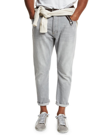 Brunello Cucinelli Relaxed-Fit Washed-Denim Jeans, Light Gray
