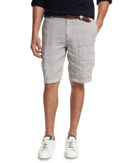 Linen Cargo Shorts, Light Gray