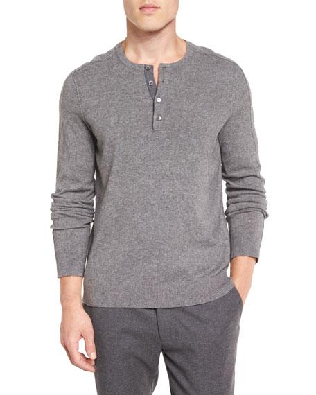 Cashmere Long-Sleeve Henley Sweater, Heather Steel