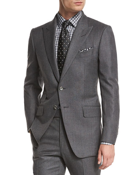 O'Connor Base Mini-Textured Two-Piece Suit, Gray