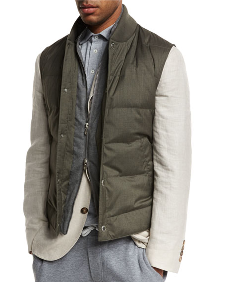 Quilted Down Vest w/Zip-Out, Hunter