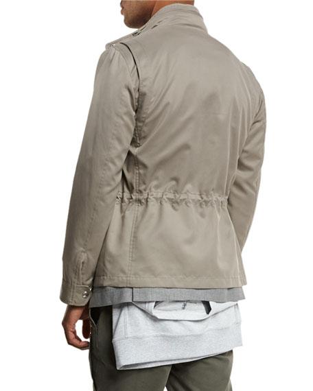 Brushed Nylon Field Jacket, Taupe