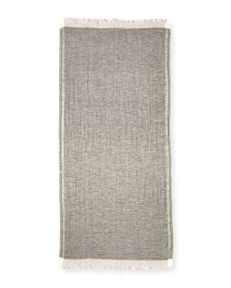 Linen Border Scarf with Fringed Ends, Green