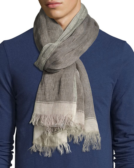 Brunello Cucinelli Linen Border Scarf with Fringed Ends,