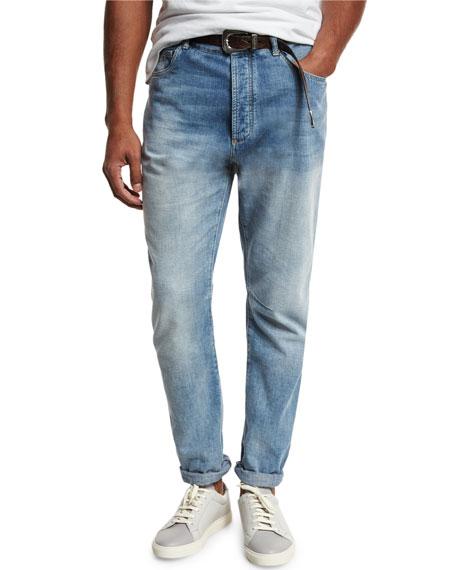 Brunello Cucinelli Leisure-Fit Straight-Leg Denim Jeans, Light