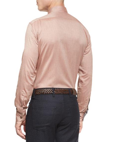 Flannel Long-Sleeve Sport Shirt, Orange