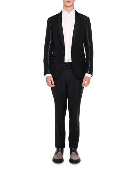 Sequin Shawl-Collar Evening Jacket, Black