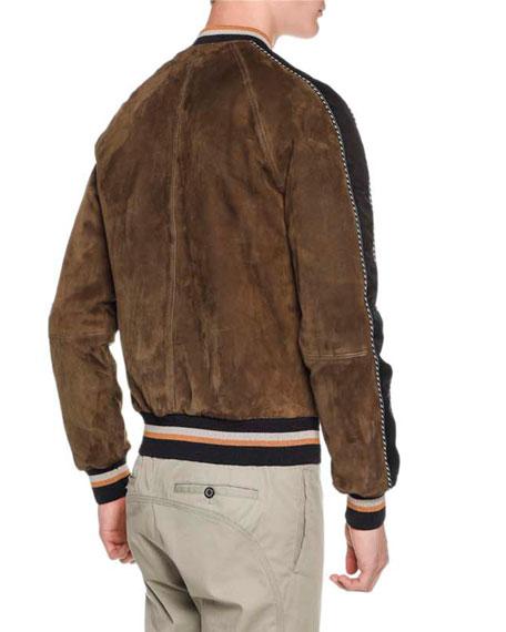 1a27100df Suede Bomber Jacket w/Striped Trim Brown