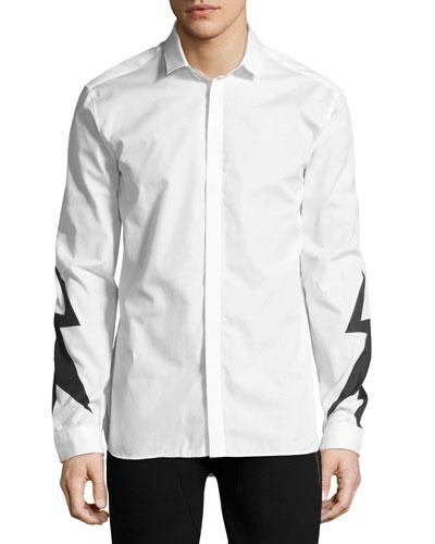 Lightning Bolt Print Shirt, White
