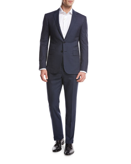 Striped Wool Two-Piece Suit, Bright Navy