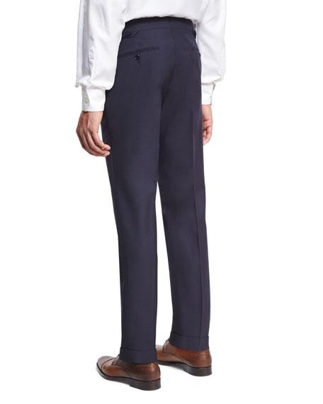 Slim-Fit Fresco Wool Trousers, Navy