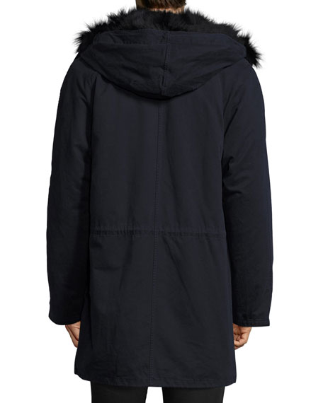 Long Classic Parka w/Fox Fur Lining, Navy
