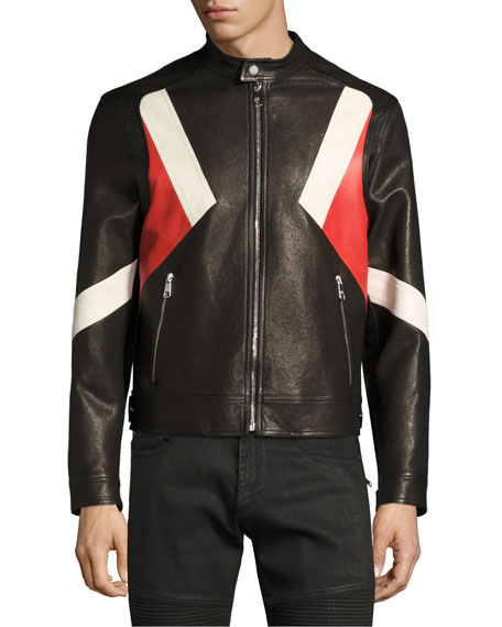 Modernist Colorblock Leather Biker Jacket, Black
