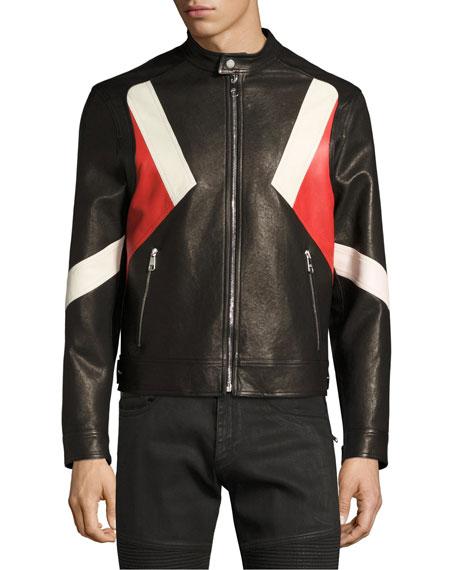 Modernist Colorblock Leather Biker Jacket, Black