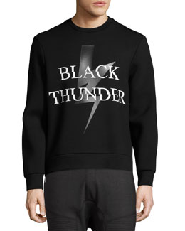 Black Thunder Side-Zip Neoprene Sweatshirt, Black