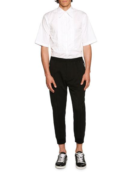 Stretch-Wool Jogger Pants, Black