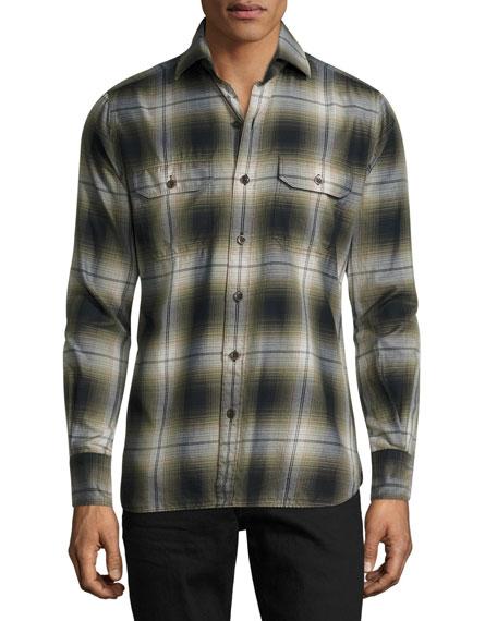 Plaid Flannel Military Shirt, Green